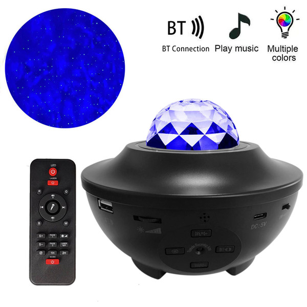 best selling 2021 New Blueteeth Galaxy Projector Ocean Wave Led Music Player Remote Star Rotating Night Light for Kid Bedroom Kr0w