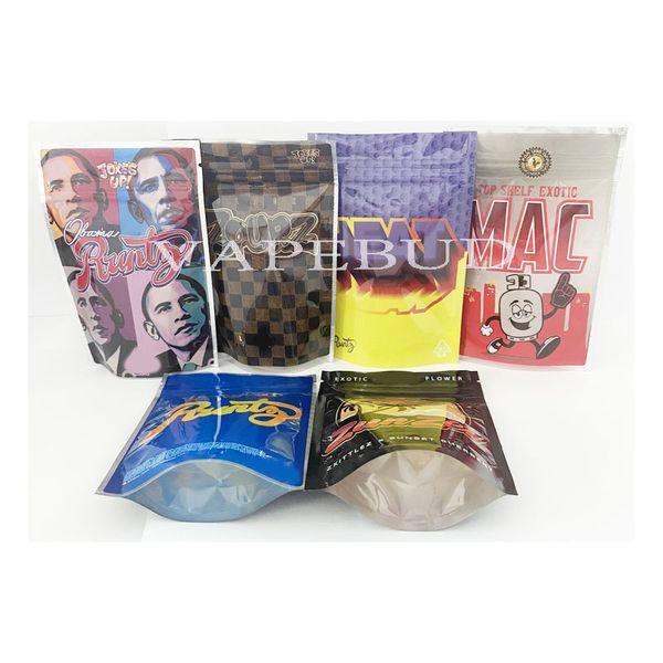 top popular 3.5g Mylar Bag Sharklato Cakez Zkittlez backpack boyz jokes up Runtz Smell Proof Packaging Bags Dry Herb 2021