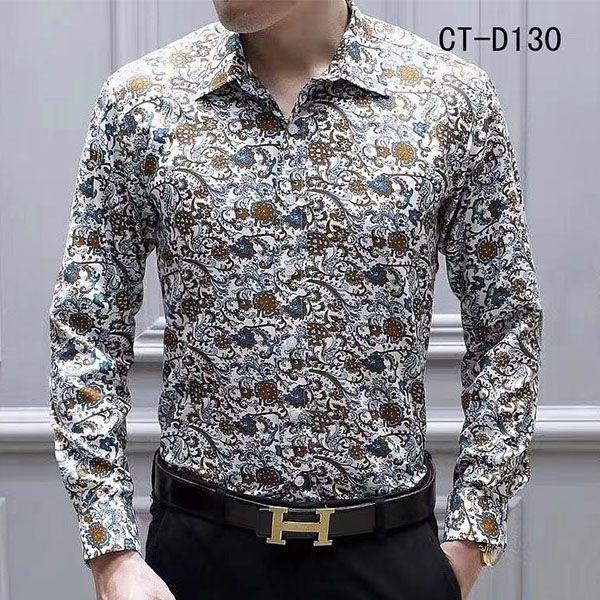 top popular NEW Fashion Designer Slim Fit Shirts Men Black Gold Floral Print Mens Dress Shirts Long Sleeved Business Casual Shirts Males Clothes 2021
