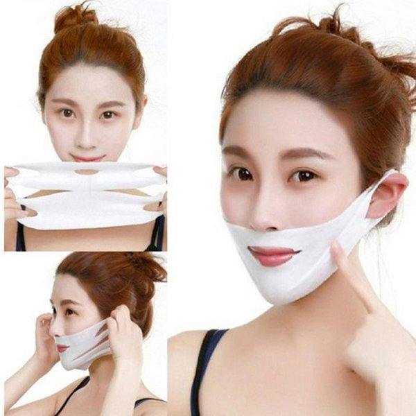 top popular 1Pcs V Line Chin Up Patch 4D Face Lifting Slimming Belt Reduce Double Chin Tape Neck Firming Anti-Wrinkle Strap Eliminate Edema 2021
