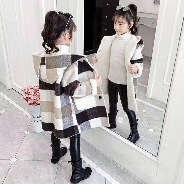 top popular Autumn Winter 2020 Girls Casual Jackets Warm Hooded Outerwear Fashion Woolen Long Coat Children Clothing Teeange Girls Outfits 9 Q1123 2020