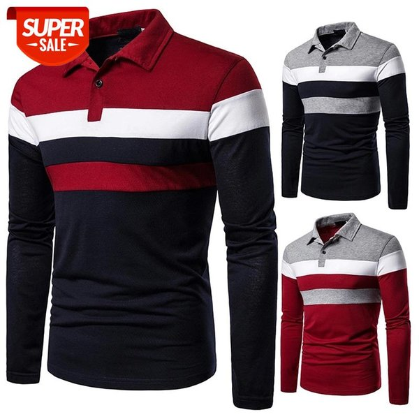best selling Autumn Men Long Sleeve T-shirt Three Colors Stitching Tops matching street casual fashion T-shirt #bg6d