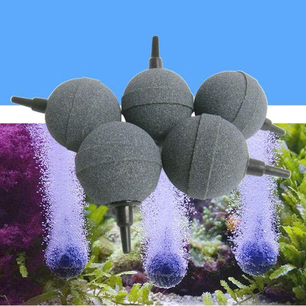 best selling 1PC 2cm 3cm 4cm 5cm Aquarium Bubble Stone Aerator Fish Tank Pump Hydroponic Oxygen Plate Round Stones Mini acuario accesorio