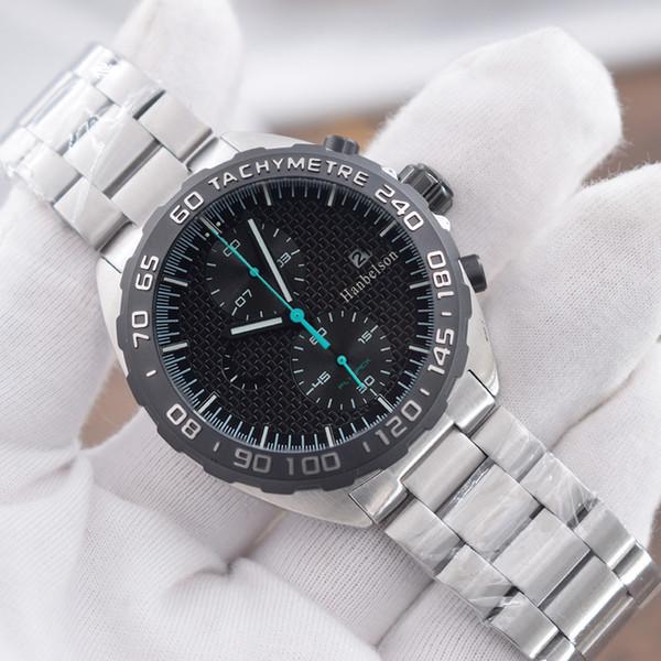 top popular NEW Mens Sport Watch montre de luxe F1 Wristwatches montre Japan Quartz movement Chronograph Black face orologi da uomo di lusso 2021