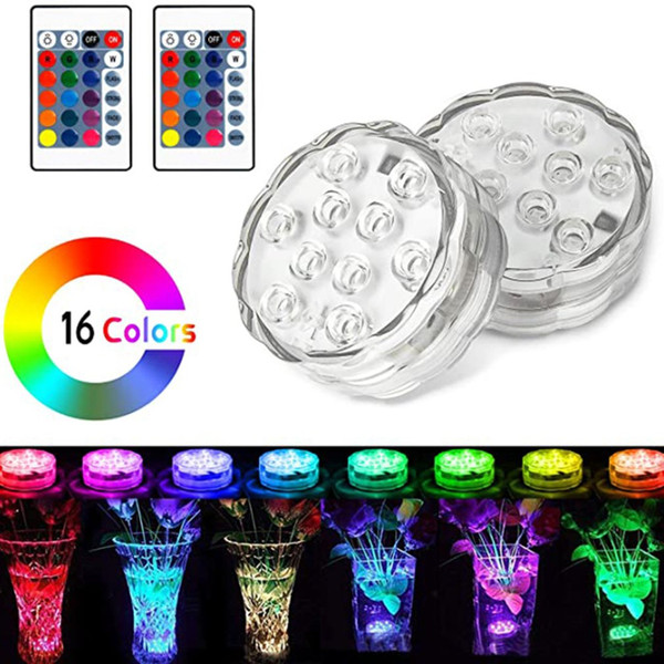 best selling 10 Led Diving Knob Lights Aquarium Colorful Underwater Waterproof Lights Highlight Remote Control 7 Colors Water Tank Lights