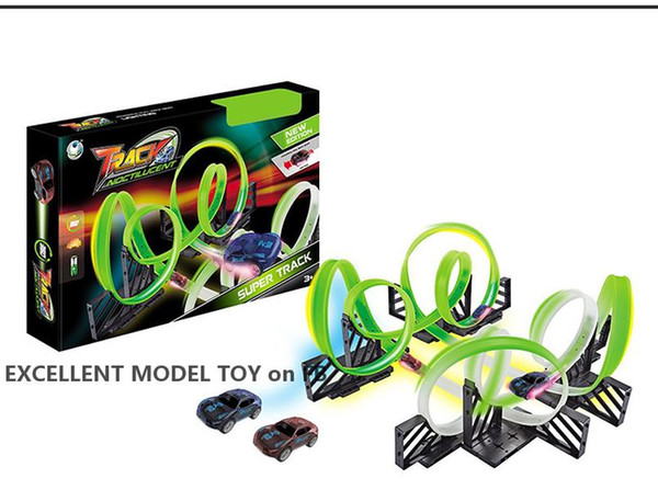 top popular WYT Creative Fluorescent Light Racetrack Electric Small Car, DIY Assembly Multiple Play, Developmental Toy, Party Xmas Kid Birthday Gift 2-1 2021