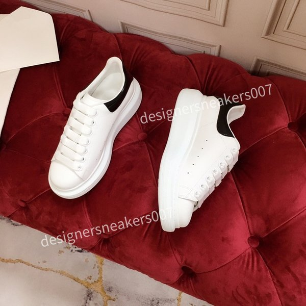 2021new Mens Leather Lace Up Platform Oversized Sole Sneakers White Black Casual hc191001
