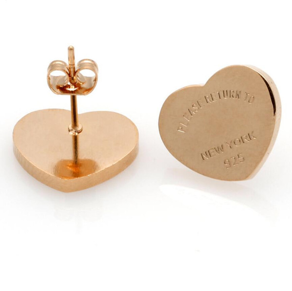 best selling Hot Sell New Fashion Gold Silver Rose gold Branded Women Stainless PLEASE RETURN TO Heart charms stud Earring