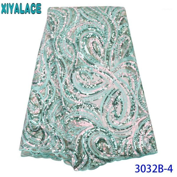 best selling Mint Green African Sequin Lace Fabric 2020 High Quality Lace Hot Sale Fabric Net with Colorful Sequence for Party KS3032B1