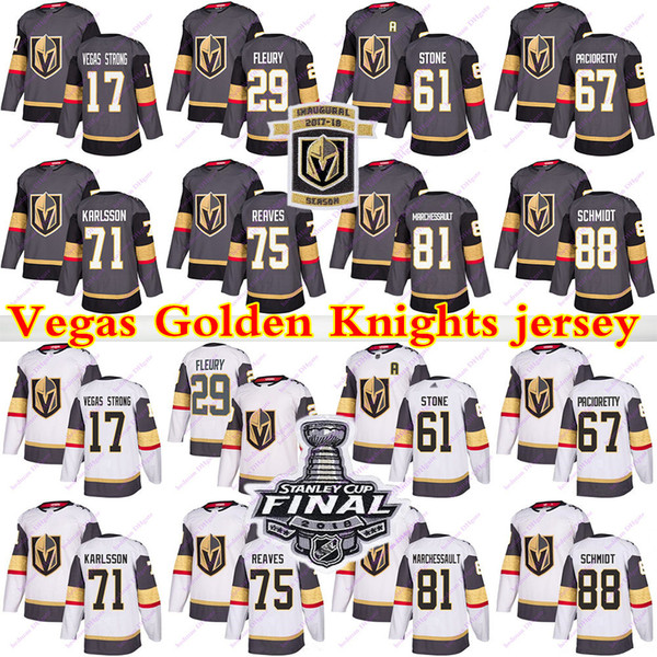 best selling Vegas Golden Knights jersey 29 Marc Andre Fleury 61 Mark Stone 75 Ryan Reaves 71 William Karlsson 81 Jonathan Marchessault hockey jerseys