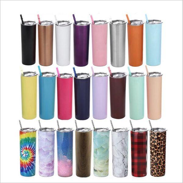 top popular Tumbler Skinny Tumblers Stainless Steel Water Bottle Car Cups With Lid Straws Double Vacuum Coffee Mug Wine Glasses Drinkware 20oz B7683 2021