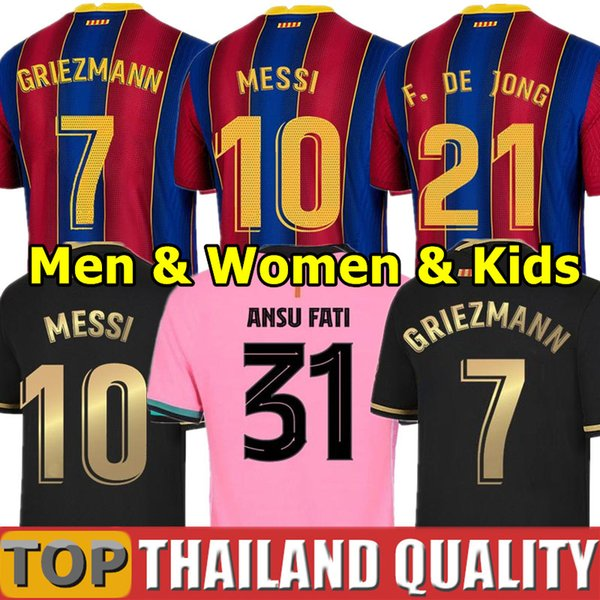 top popular 20 21 BARCA soccer jerseys ANSU FATI 2020 Messi GRIEZMANN BRAITHWAITE PEDRI DE JONG COUTINHO Football shirt Men Women Kids Kit uniform 2021