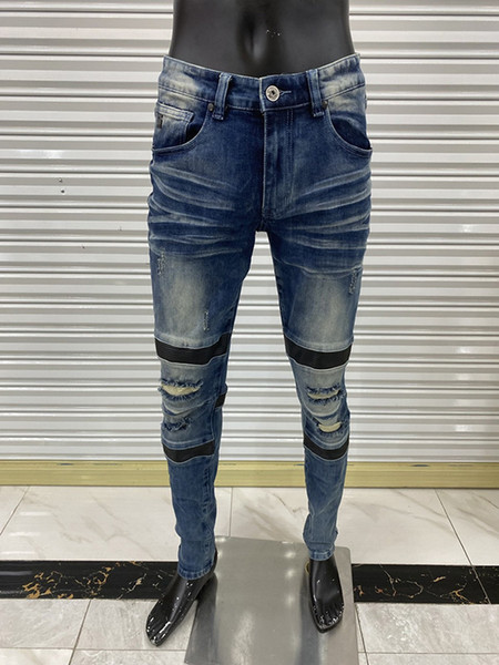 best selling Mens pants skinny jeans light wash ripped pants Long Straight Zipper Fly motorcycle rock revival jeans joggers true religions