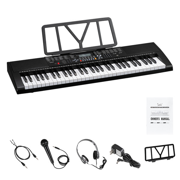 best selling Glarry GEP-106 61 Key Portable Piano with Speakers Headphone Microphone Music Rest LCD Screen USB 3 Teaching Modes for Beginners Black
