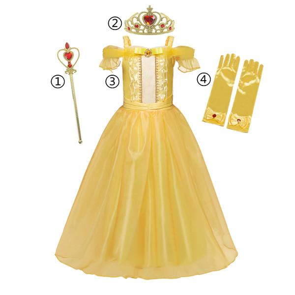top popular Gold Belle Dress for Girls Halloween Children's Costume Christmas Girls Princess Cosplay Girls Dress Up Fancy Princess Dress 201130 2021