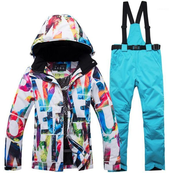 top popular New Winter outdoor ski wear suit women windproof waterproof padded warm veneer ski pants suit women snow outdoor wear1 2021