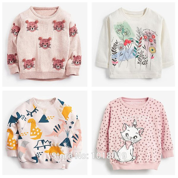 top popular 1-7Y Girls Sweatshirt Tops Children T Shirt Blouses Brand Quality 100% Terry Cotton Bebe Hoodies Kids Baby Girl Clothes Tee 2021 Q0109 2021