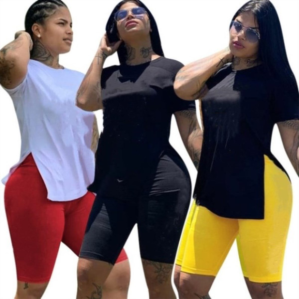 best selling Womens outfits short sleeve 2 piece set tracksuit jogging sportsuit shirt short legging outfits sweatshit pants sport suit hot 1181