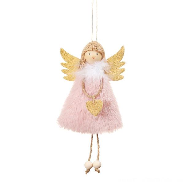 Colgante de ángel de peluche rosado