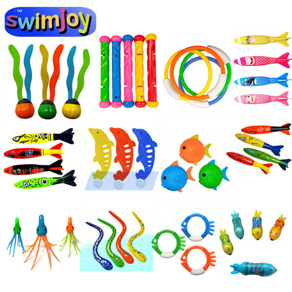 best selling Swimjoy Diving toys Torpedos rocket throwing toys Octopus dolphin seaweed stick Fish Ring Swimming Pool Water Games Training Q1217