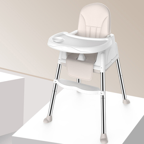 top popular 3 Color Multifunctional Adjustable Tray Foldable Portable Kids Baby High Chair With Wheeled Seat Cushion Baby Feeding High Chair LJ201110 2021