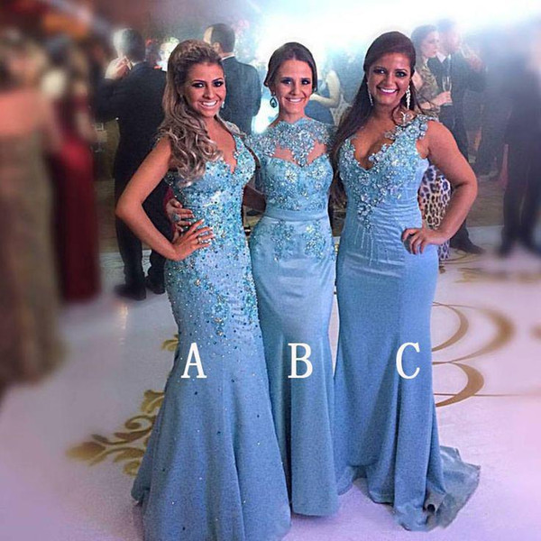 top popular 2021 New Different Styles Bridesmaid Dresses For Weddings Lace Appliques Beads Sky Blue Mermaid Party Floor Length Maid Honor Gown Under 100 2021