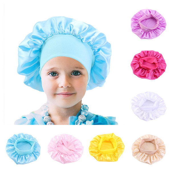 best selling Fashion Kids Bonnet Girl Satin Night Sleep Shower Cap Hair Care Soft Cap Head Cover Wrap Beanies Skull Cap For 1-6Y baby boutique E111803