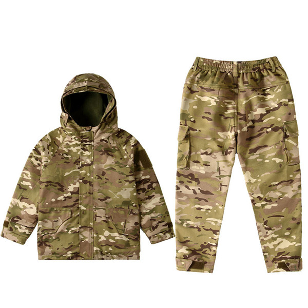 best selling Outdoor Sports Airsoft Gear Jungle Hunting Woodland Shooting Coat Pants Set Combat Children Clothing Camouflage Kid Child Jacket P05-224