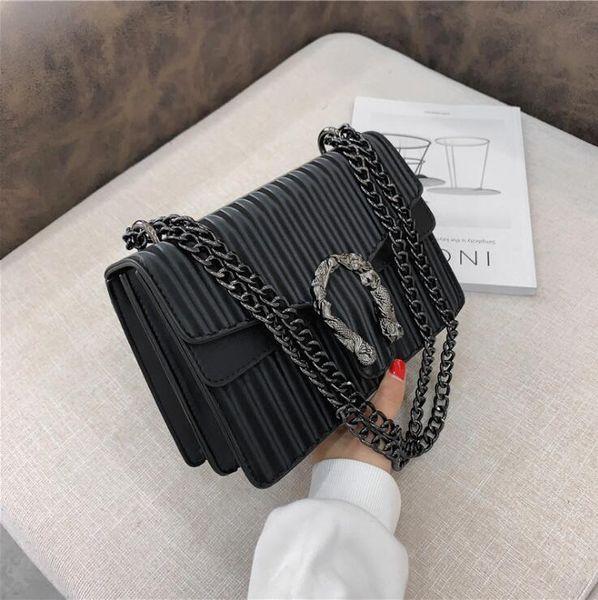Factory wholesale women handbag fashionable striped chain bag embossed leather shoulder bags street trend stripeds womens messenger handbags