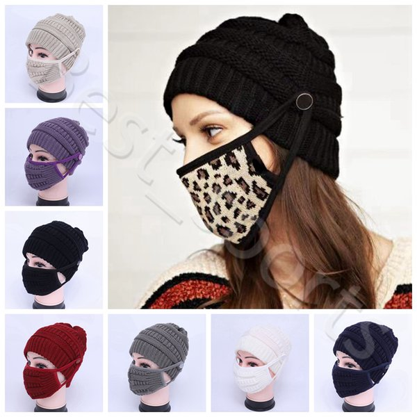 best selling Winter warm knit beanie reusable washable face masks 8 colors outdoor sports woman knitted caps masks CYZ2943