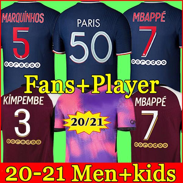 best selling 20 21 Thai soccer jersey MBAPPE VERRATTI 2020 2021 MARQUINHOS KIMPEMBE DI MARIA KEAN football Jersey soccer tops men shirt and kids sets