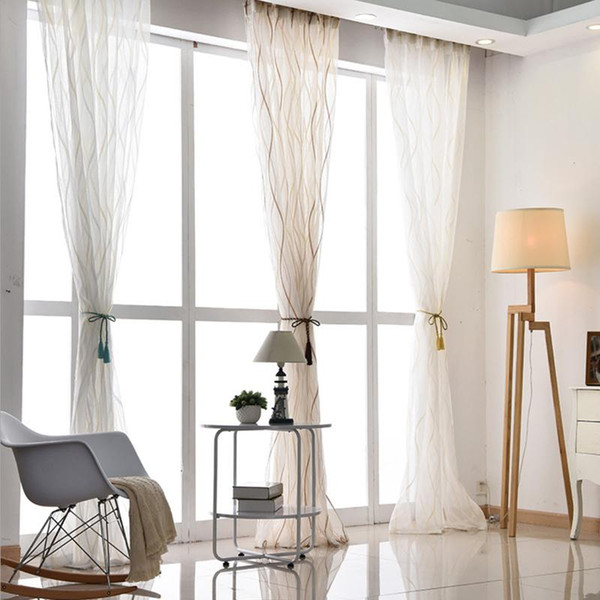 top popular 2020 New Europe Style Fashion Design Printed Striped Curtain Tulle Fabrics for Bedroom Window Sheer Curtains 2021