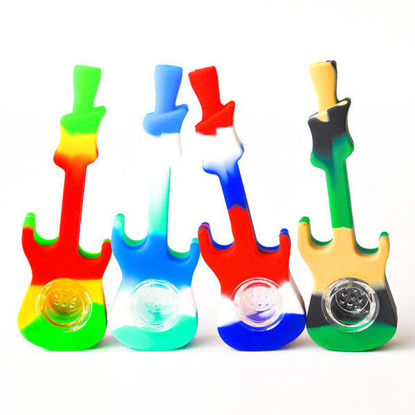 best selling Cheap Price 4inches Silicone Guitar Smoking Pipe Silicone Hand Pipe with glass bowl Oil Rigs Glass Bong DHL Free