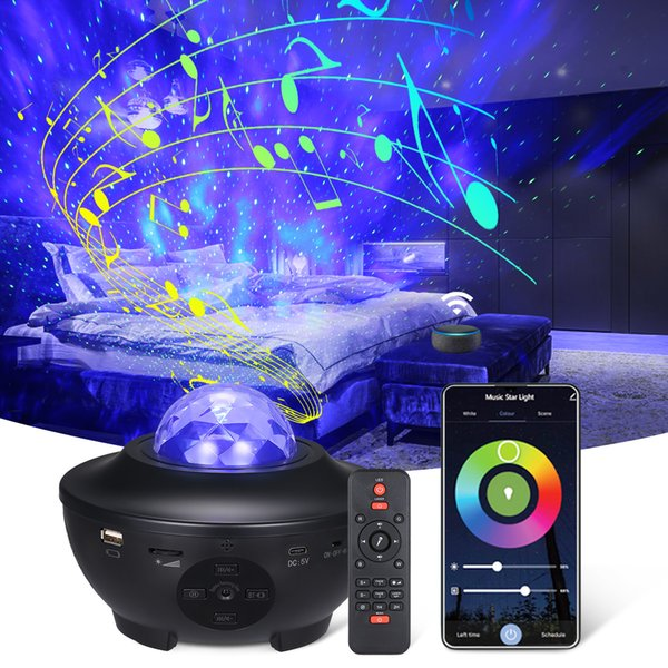 top popular 2021 New Colorful Starry Sky Projector Blueteeth Voice Control Music Player Led Night Light Usb Charging Projection Kids Gift Faur 2021