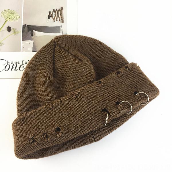 Chapeau tricoté cassé à trois anneaux - Café
