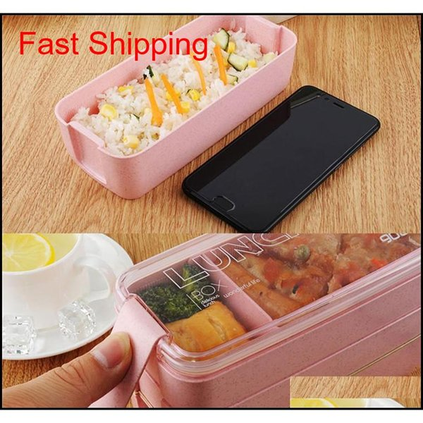 best selling Wheat Straw Lunch Box Healthy Material Lunch Box 3 Layer 900ml Wheat Straw Bento Boxes Microwave Dinnerware Food S qylTkW bdetoys