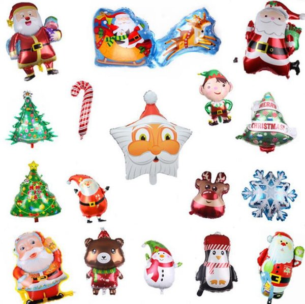 top popular Christmas Party Balloons Inflatable Foil Helium Balloon Santa Claus Snowman Air Balls Party Decorations Supplies 34 Designs DW6203 2021