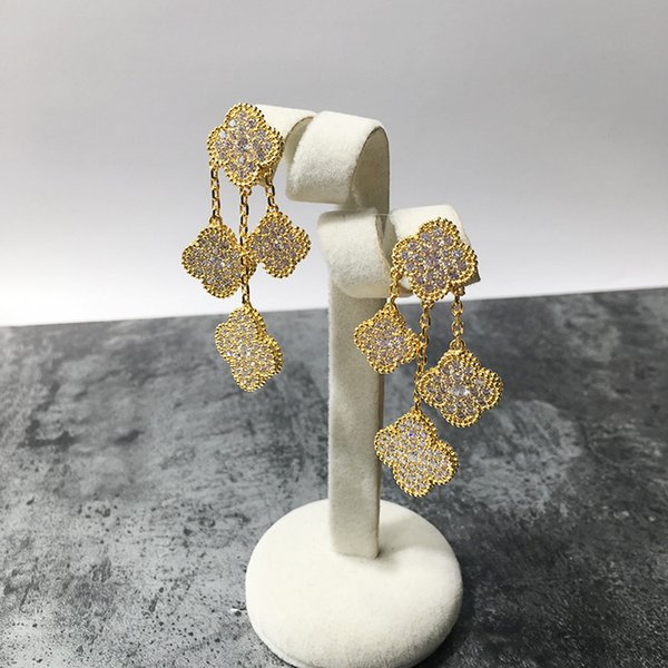 best selling high quality yellow rose white gold plated full cz stone 4 flowers drop earrings for women new arrival luxury fashion jewelry wholesale