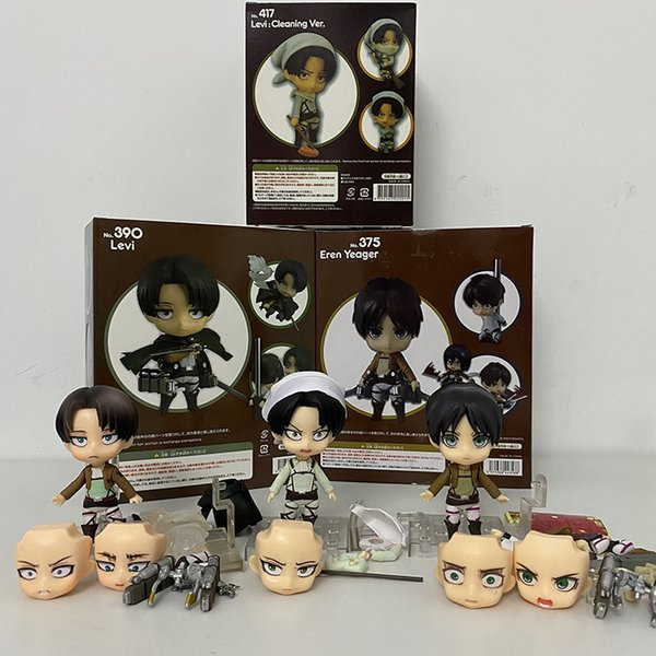 top popular Attack on Titan Levi Rivaille Rival Ackerman Action Figure Toys Doll Collection Christmas Gift Hot 10cm Q1215 2021