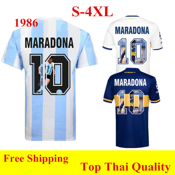 best selling Thai quality 1986 Retro jersey Argentina Maradona Soccer Jerseys 2021 Boca Juniors home away Special printing Maradona football shirt 4XL