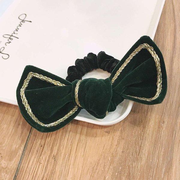 045 ᦇ Círculo de cabelo Bowknot Verde escuro