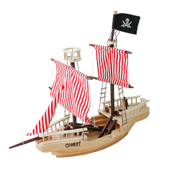 best selling 43 Inch Wooden Pirate Ship Toy Nautical Ocean Pirates Ships Wood Boats Model Set for Model Lovers