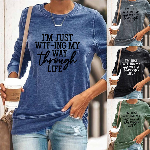 top popular Cute Korean Pop Street letter printed Women T shirts European Style Loose O-neck Long Sleeve Women Casual Sweatshirts Hoodies 2021