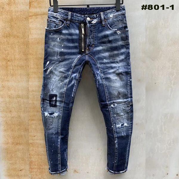 top popular Fashion Men Jeans Skinny Ripped Jeans Denim Pants Slim Fit Designn Moto Biker Trousers Hip Hop Streetwear Hot Rock Pants Broken Holes 2021