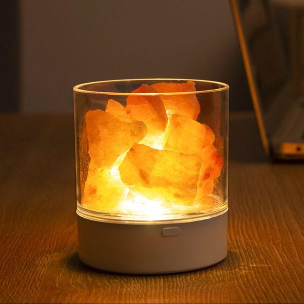 top popular 2021 New 1pc Usb Charging Crystal Salt Living Room Portable Night Light Special Occasion Black white Fine Bedroom Desk Lights 4iqc 2021