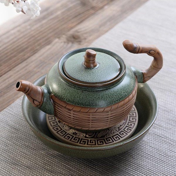 best selling Chinese Tea-things Teapots Household Green Porcelain Kettle with Handle Water Pitcher Jug Teaware Ceramic Teapot