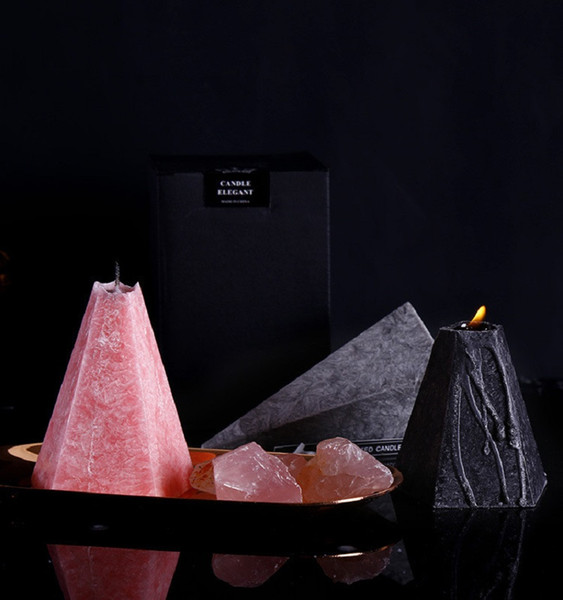 top popular Nordic Geometric Cone Scented Candles Jasmine Rose Aromatherapy Essential Oil Candle Long Lasting Home Bedroom Candles HWA2484 2021