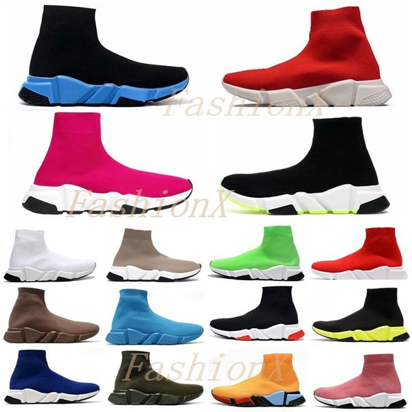 top popular [shipped within 6 days] Speed trainer men womens sock shoes High quality top triple black pink Clearsole mens casual sneakers size 36-45 2021