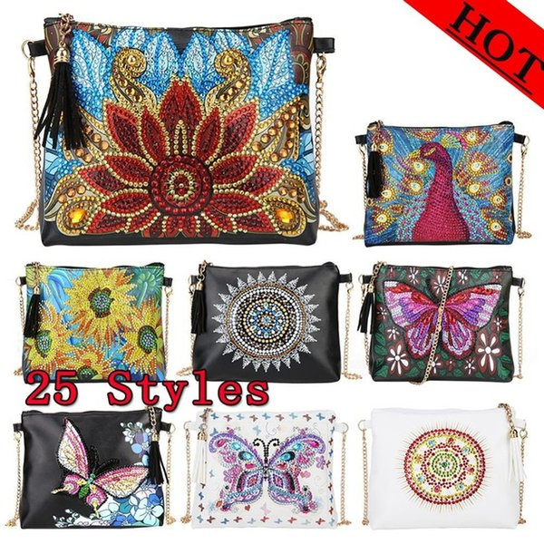 top popular heap Diamond Painting Stitch DIY Special Shaped Diamond Painting Leather Cross Body Bags Chain Clutch Cross Stitch Wallet Christmas Gift... 2021