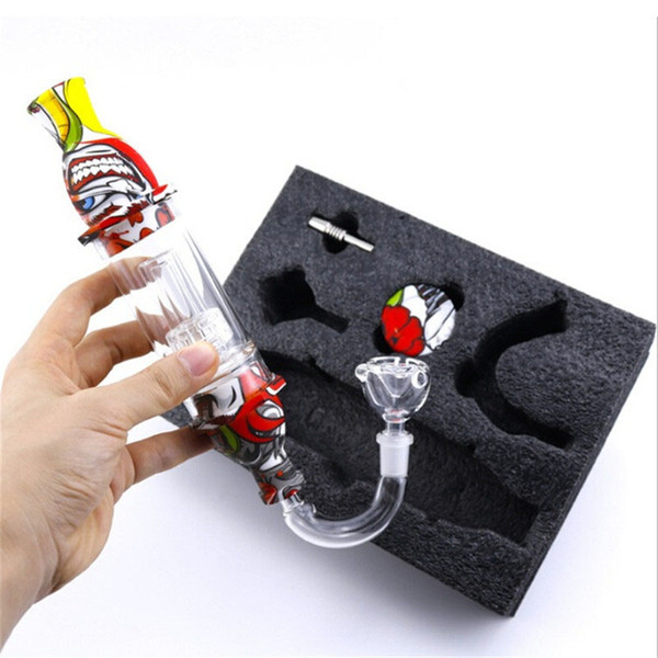 best selling SILICON COLLECTOR DAB STRAW WITH Smoking GLASS ATTACHMENT Bongs Accessories Connector Attachment Silicon Container Dab Tool Kits
